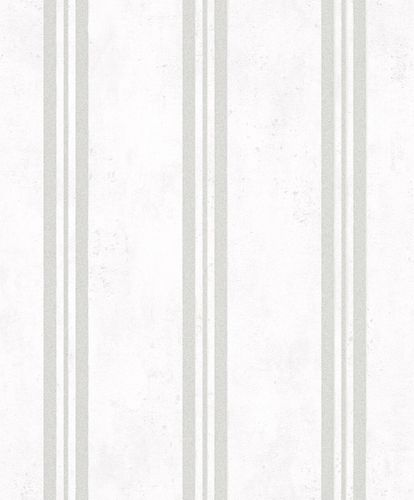 Non-Woven Wallpaper Stripes metallic white grey 32635
