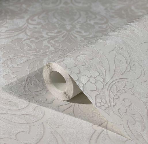 Non-Woven Wallpaper Ornaments metallic white grey 32601
