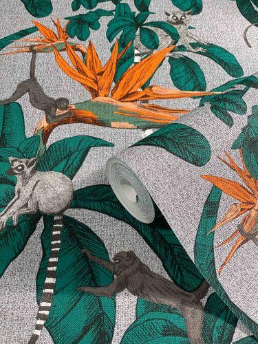 Vliestapete Dschungel Affen grau grün Marburg 32652