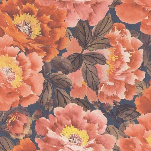 Vliestapete Rasch Floral Blumen orange-rot braun 408348