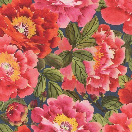 Vliestapete Rasch Floral Blumen pink grün blau 408355