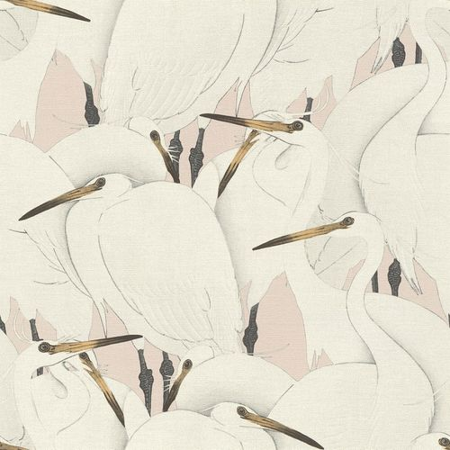 Non-Woven Wallpaper Rasch Birds Herons grey pink 409536