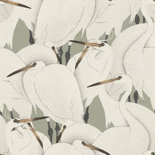 Non-Woven Wallpaper Rasch Birds Herons grey green 409543