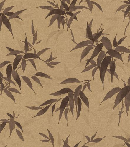 Non-Woven Wallpaper Rasch Bamboo Leaves gold 409765