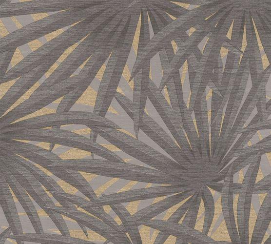 Non-Woven Wallpaper Palm grey gold Metallic 37861-1