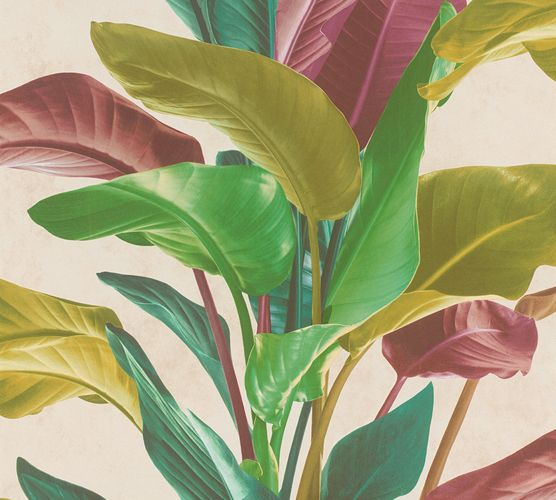 Non-Woven Wallpaper Leaves Floral green red 37862-1