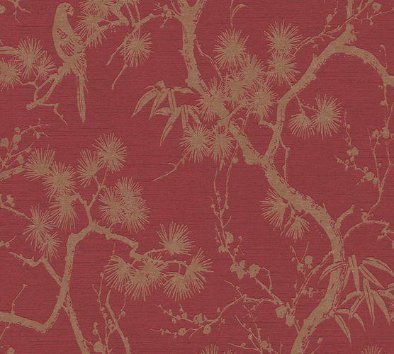 Non-Woven Wallpaper Floral Tree red Metallic 37867-1