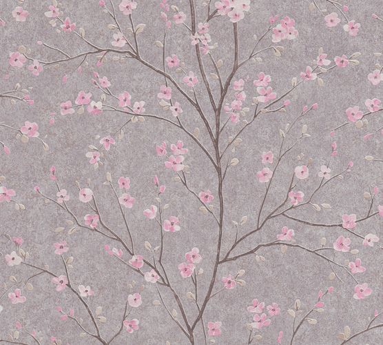 Non-Woven Wallpaper Cherry Blossom grey pink 37912-2