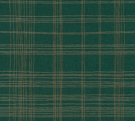 Non-Woven Wallpaper Check dark green Metallic 37919-3