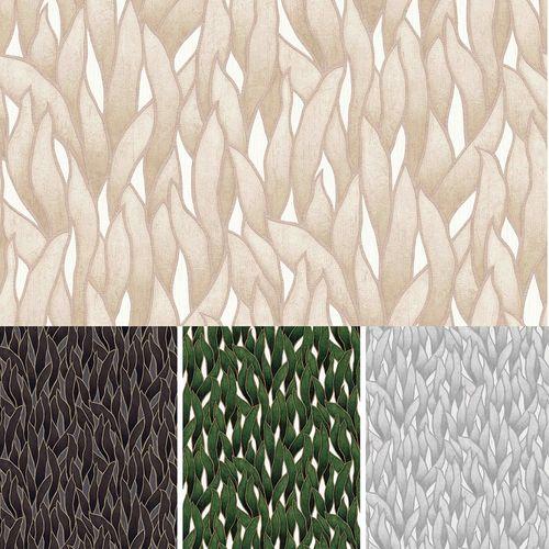 Non-woven wallpaper Erismann Spotlight leaves green grey