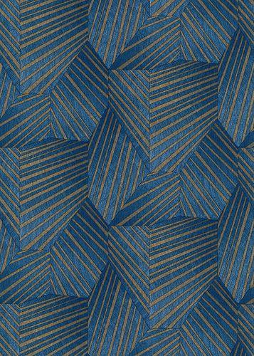 Vliestapete Elle 3D Dreiecke blau gold Glanz 10152-08