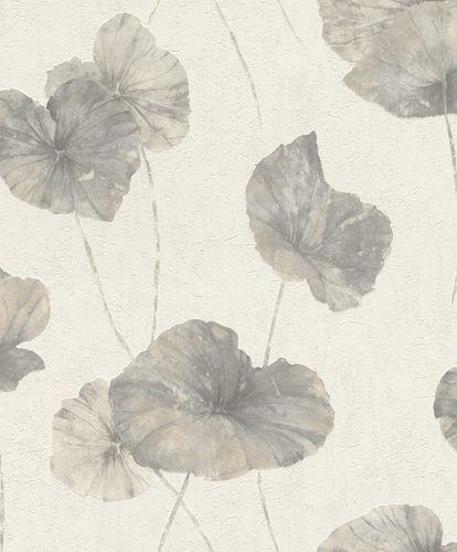 Rasch Vliestapete Floral Seerose grau weiß 458213