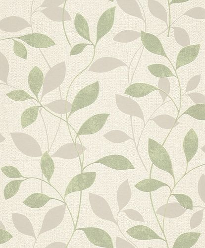 Rasch Wallpaper Floral Leaves green grey Gloss 639834