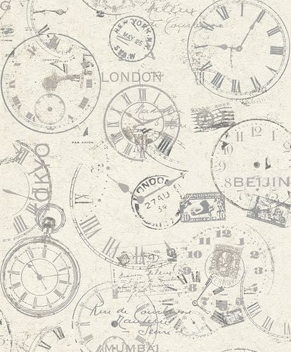 Rasch Wallpaper Clocks Lettering white grey 649208