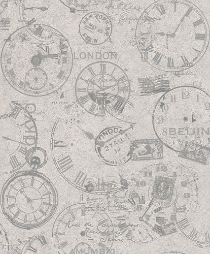 Rasch Wallpaper Clocks Lettering grey 649239