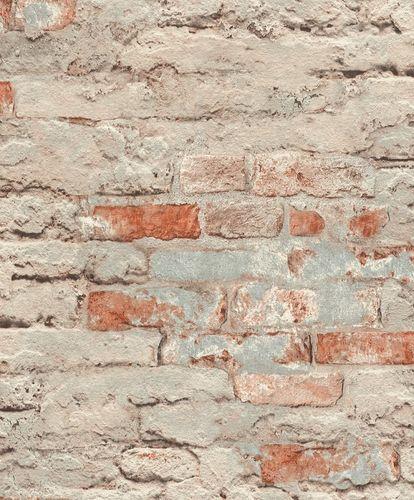 Rasch Wallpaper Stone Wall blue-grey brown 649420