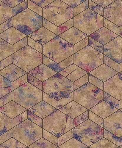 Rasch Wallpaper 3D Cubes Patina gold Metallic 649611