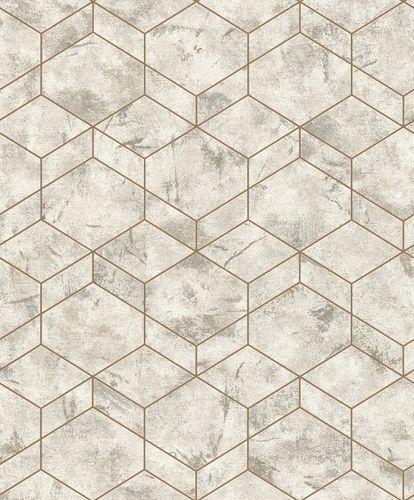 Rasch Wallpaper 3D Cubes Patina grey Metallic 649642
