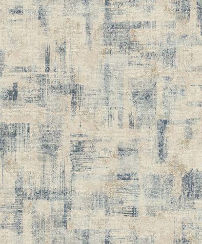 Rasch Vliestapete Struktur Shabby Chic beige blau 650457