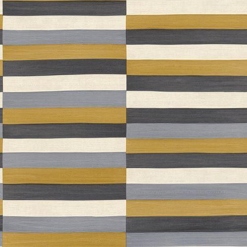 Non-Woven Wallpaper Rasch Stripes Leather gold 418729