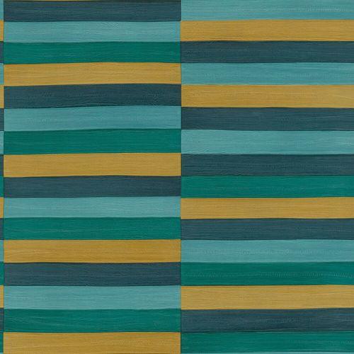 Non-Woven Wallpaper Rasch Stripes Leather green 418736
