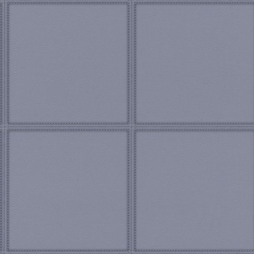 Vliestapete Rasch Leder-Optik Karo grau-blau 419047