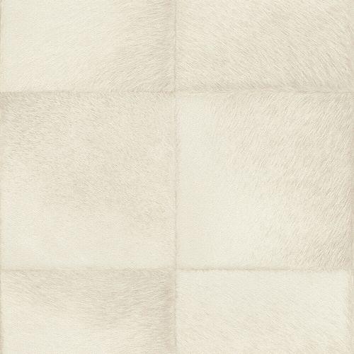 Non-Woven Wallpaper Rasch Fur Squares white beige 419108