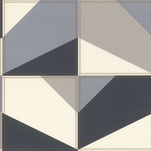 Vliestapete Rasch Grafik Leder-Optik grau weiß 419207