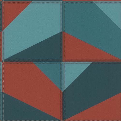 Vliestapete Rasch Grafik Leder blau orange-rot 419269