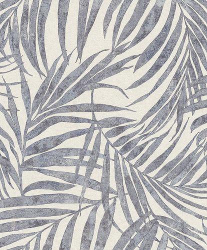 Non-Woven Wallpaper Rasch Leaves blue white 617429