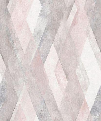Non-Woven Wallpaper Diamond Graphic pink grey 32449