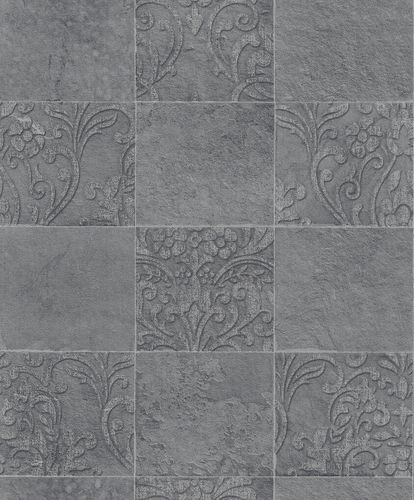 Non-Woven Wallpaper Tiles Ornament anthracite 82252