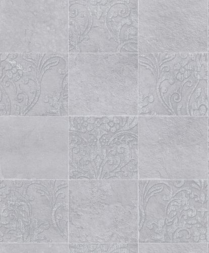 Non-Woven Wallpaper Tiles Ornament grey 82253