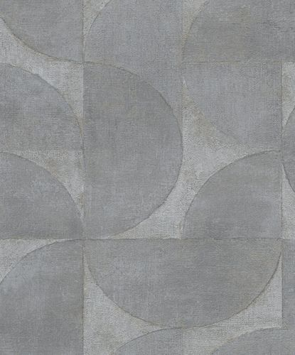 Non-Woven Wallpaper Semicircle Metallic grey gold 32820