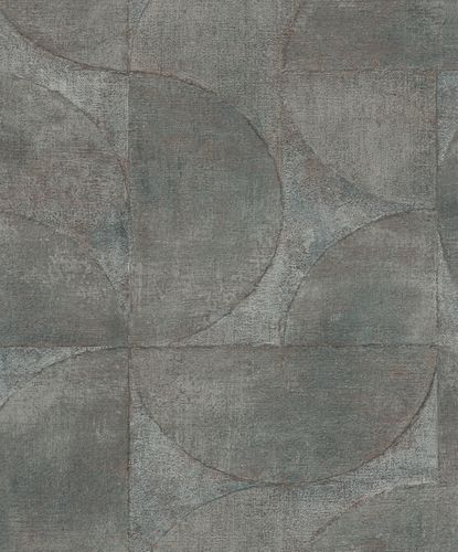 Non-Woven Wallpaper Semicircle Metallic grey 32823