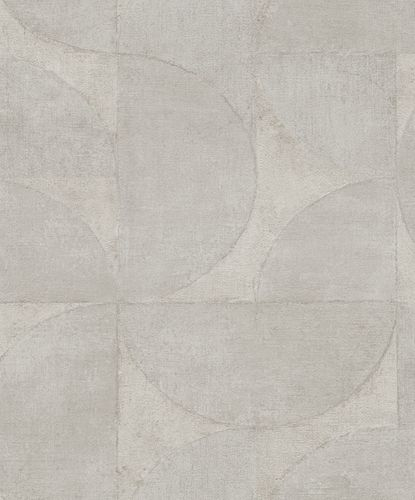 Non-Woven Wallpaper Semicircle Metallic grey-beige 32825