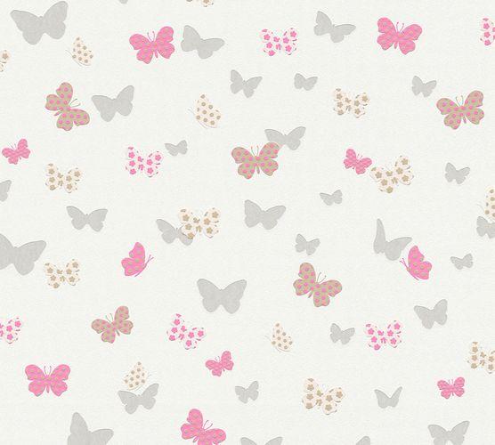 Vliestapete Schmetterlinge weiß pink Glanz 36933-2