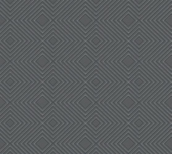 Non-Woven Wallpaper Checked 3D black Glitter 37758-1