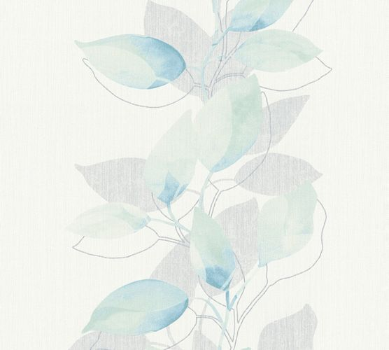 Vliestapete Blätter Ranke weiß grün blau Glanz 37815-1