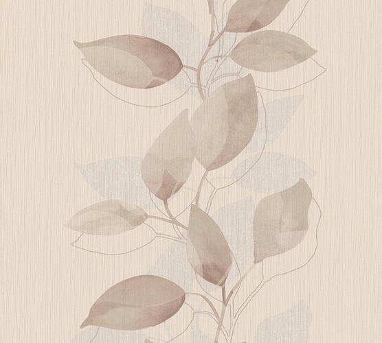Vliestapete Blätter Ranke braun beige grau Glanz 37815-2