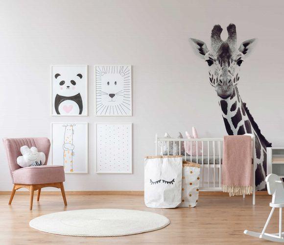 Fototapete Vlies Premium Giraffe Natur weiß schwarz