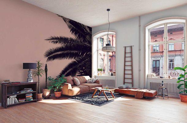 Fototapete Vlies Premium Palme Natur rosa schwarz