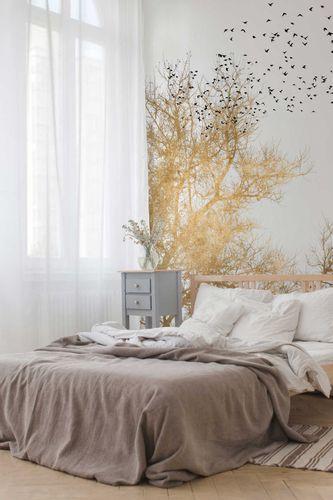 Photo Wallpaper Non-Woven Tree Birds Nature gold white