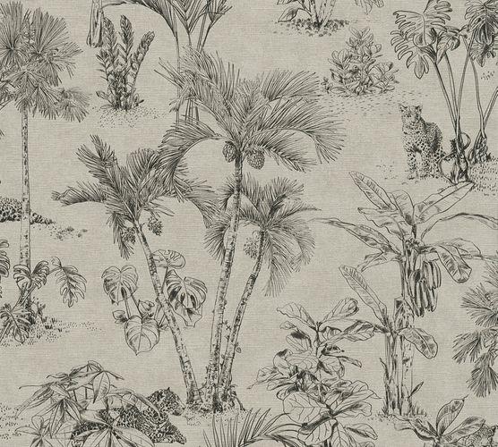Non-Woven Wallpaper Jungle Palms Leopard taupe 38021-4