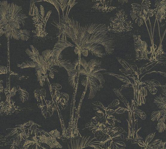 Non-Woven Wallpaper Jungle Palms Leopard black 38021-5