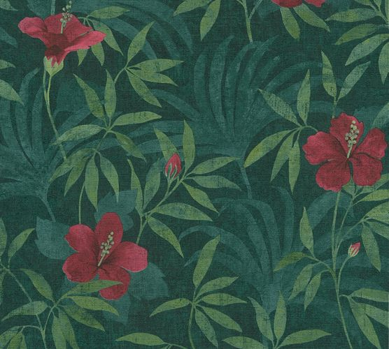 Non-Woven Wallpaper Floral Flowers Leaves green 38028-1