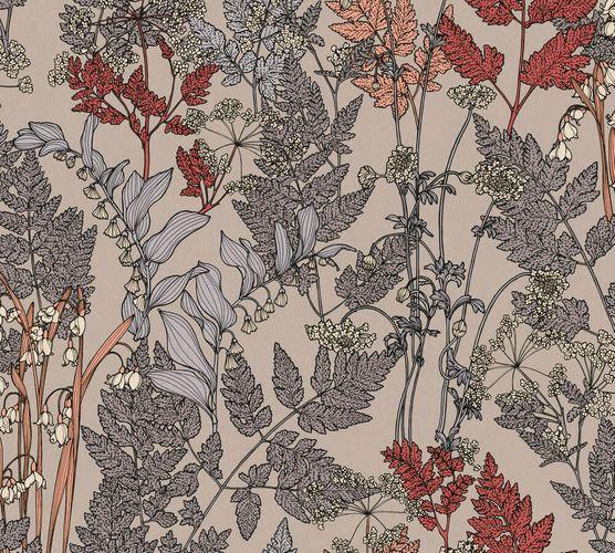 Vliestapete Floral Blätter beige rot grau 37751-2