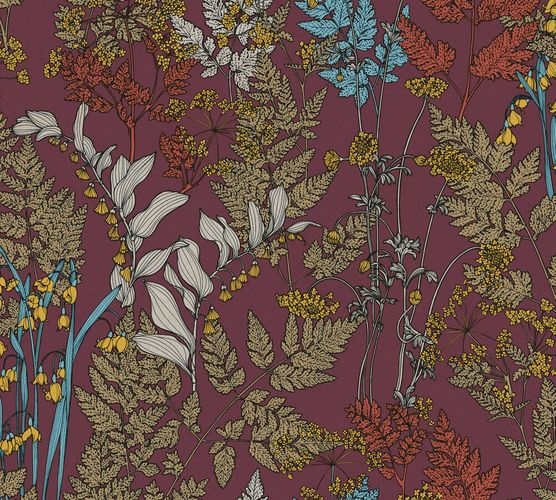 Non-Woven Wallpaper Floral Leaves red yellow 37751-4