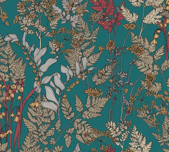 Non-Woven Wallpaper Floral Leaves blue yellow 37751-5