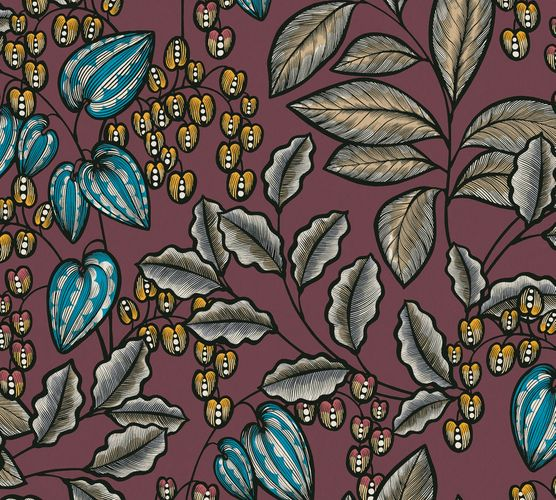 Non-Woven Wallpaper Leaves Fruits red yellow 37754-6